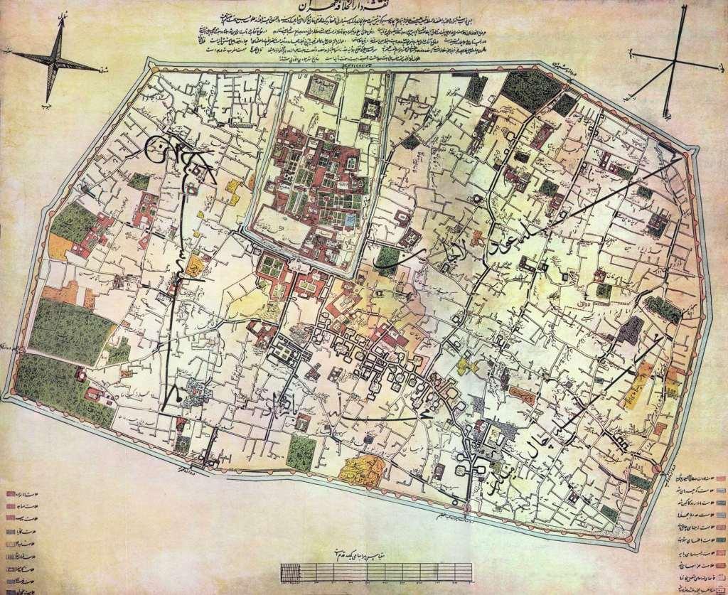 نقشه آگوست کرشیش (۱۸۵۸ میلادی، ۱۲۳۷ خورشیدی) ناصر الدین شاه